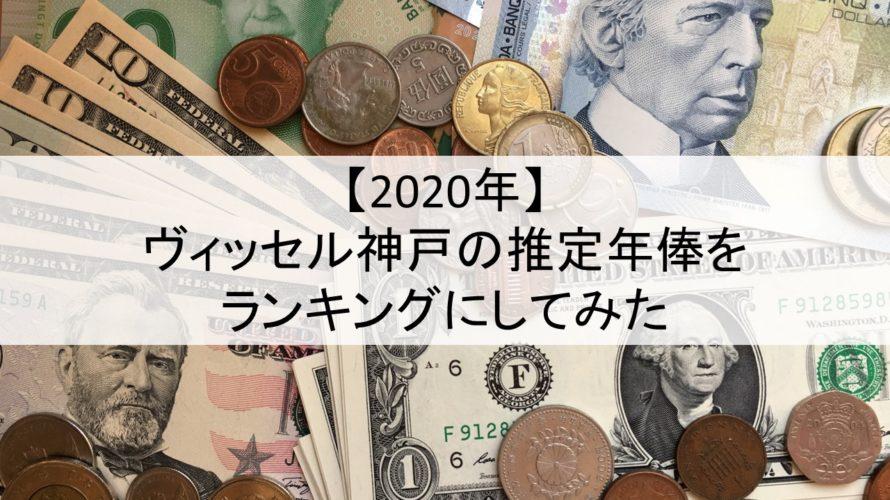 【2020年】ヴィッセル神戸の推定年俸をランキングにしてみた